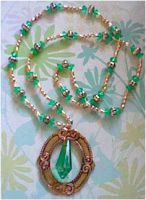 Green and Gold Vintage Necklace by LindseyDunno