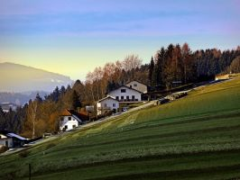 Village houses on the hill by patrickjobst