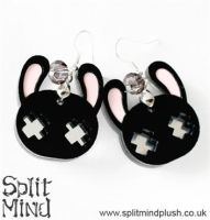 Black Bunny Earings by SplitxMindxPlush
