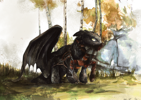 Toothless Watercolour by Dreamsoffools