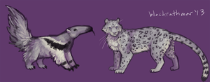 Snow Leopard And Anteater by blackrathmar