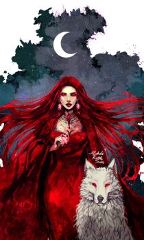 Melisandre and Ghost by AlcoholicRattleSnake
