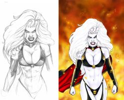 Lady Death Cover from sketch to paints by MDiPascale