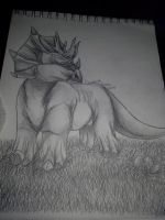 Triceratops traditional by Miss-Akuma