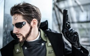 Adam Jensen Cosplay Closeup by Videros