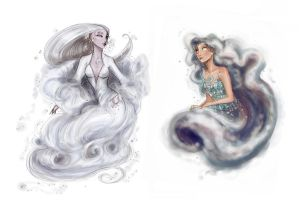 Sky nymphs: Chione and Nephele