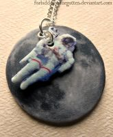 Astronaut and Moon Necklace by Forbiddenynforgotten