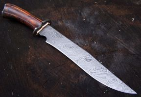 Recurve Damscus Bowie by GageCustomKnives