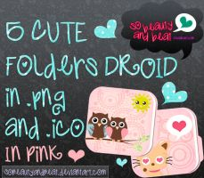 5 Cute Folders Droid in Pink (.Png and .Ico) by SoBeautyAndBeat