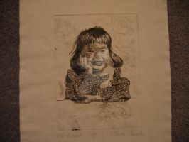 Drypoint Print of Myself by Albino-Phoenix