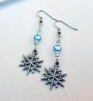 Snow flake charm earrings with blue heart beads by TEDSbyBri