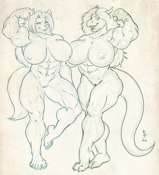 Two Big Gals by HopeyWolf