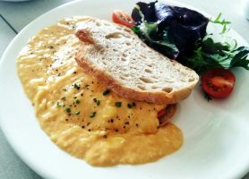 Scrambled Eggs and Salmon Toast by nosugarjustanger