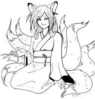 Kitsune Lady Lineart by shadowsmyst