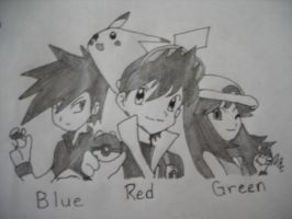 Red and Friends (Shaded) by SapphireRose-chan