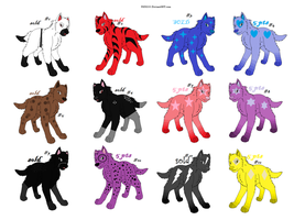 wolf adopible set 2 by whitetigerdelight