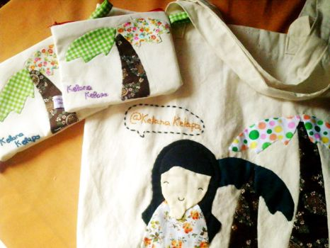 Tote and pouch for Kelana Kelapa by heppieyippie