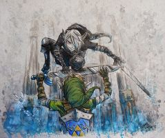 Dark Link Vs. Link (RePaint) by AdamScythe