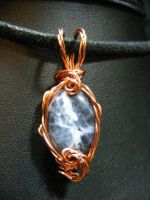 sodalite in twisted wire pendant by BacktoEarthCreations