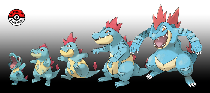 158 - 160 Totodile Line by InProgressPokemon