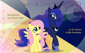 Request - Luna and Fluttershy Wallpaper by Mace66VW
