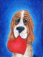 My Puppy Valentine -- Basset by clay-dreams