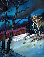 Dark Clouds looming over Winter Woods by Art-deWhill