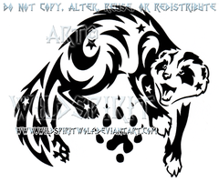 Mai Tai Starry Tribal Ferret Design by WildSpiritWolf