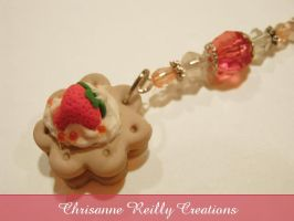 Strawberry Cookie Phone Charm by magur