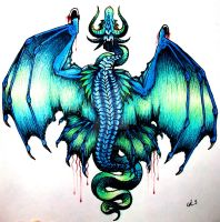 Blue Dragon Tattoo by Cat-S-Dragoness