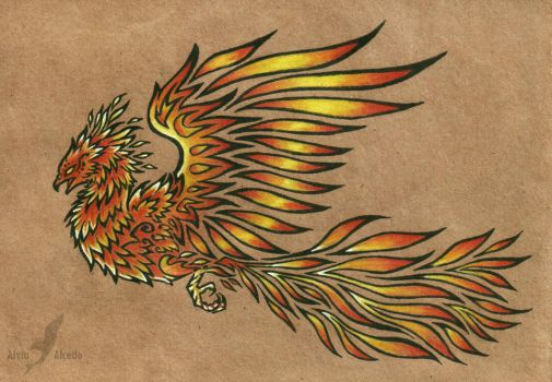 Phoenix - tattoo design by AlviaAlcedo