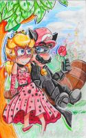 .:Mareach~ Lady Peach and Mario Noir:. by luigisister