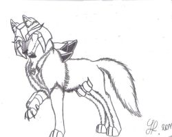 Lineart Megatron wolf by TFP-Starfall