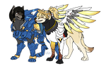 OW: Phara and Mercy [Dog AU] by kasaru2911