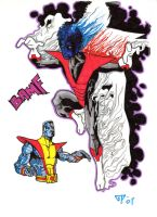 Nightcrawler and Colossus by guillomcool