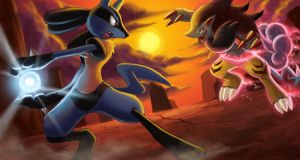 Lucario vs. Zoroark by arkeis-pokemon
