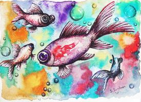 Swimming in a rainbow by SamanthaJordaan