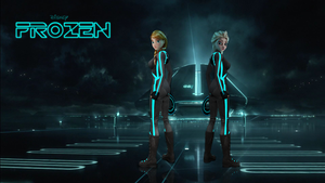 Frozen Tron Themed Wallpaper by OutaDimes