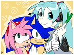 Sonic, Amy and Miku by Mitzy-Chan