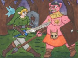 Commission - Link vs. Moblin by Elainatehkitty