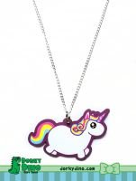 Chubby Unicorn Necklace by brandimillerart