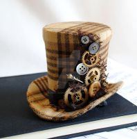 Steampunk Mini Top Hat with Gears and Buttons by RagDolliesMadhouse