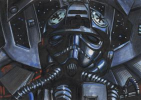 STAR WARS TIE PILOT SKETCH CARD by AHochrein2010