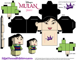 Disney Princess Mulan Cubeecraft template pt1 by SKGaleana