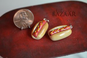 Hot Dog Charms - Set of 2 by TheMiniatureBazaar