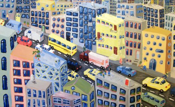 Traffic Jam in Pastel City by rosspwilson