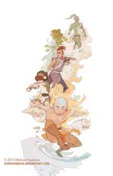Aang and the group - tribute by DarkSunRose