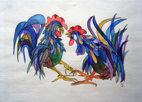 Roosters by uschibeckert