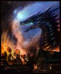 Dragon in a Burning village by Decadia