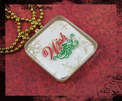 Wish with Gold Snowflakes Pendant/Ornament by kelleejm1